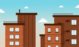 Cidade da construção na arte lisa do vetor Imagens de Stock Royalty Free