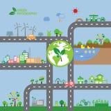Cidade da ecologia do verde de Infographic imagens de stock royalty free