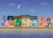 Cidade da mola na noite Fotografia de Stock Royalty Free