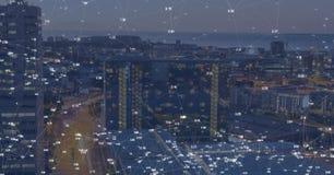 Cidade da noite com conectores imagens de stock royalty free