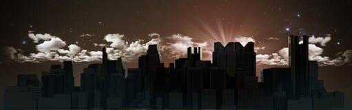Cidade da noite com imagem da rendição da reflexão 3d ilustração stock