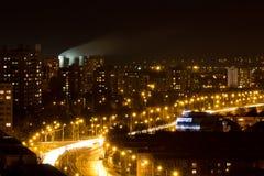 Cidade da noite de Ostrava Fotos de Stock Royalty Free
