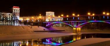 A cidade da noite de Vitebsk Fotos de Stock Royalty Free