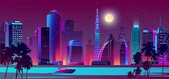 Cidade da noite do vetor no rio com barco ilustração royalty free