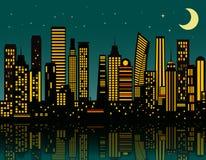 Cidade da noite dos desenhos animados Fotos de Stock