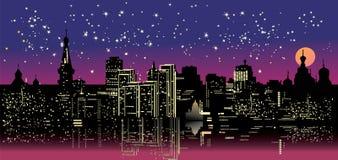 Cidade da noite sob o céu da estrela Imagem de Stock