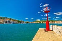 Cidade da opinião do seascape de Tisno Imagem de Stock Royalty Free