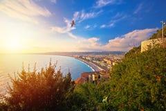 Cidade da opini?o a?rea da margem agrad?vel de Promenade des Anglais imagens de stock