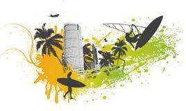 Cidade da palma do surfista Ilustração Royalty Free
