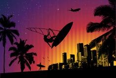 Cidade da palma do surfista do por do sol Ilustração Stock