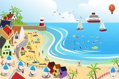 Cidade da praia ilustração royalty free
