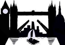 Cidade da silhueta de Londres com ponte da torre ilustração stock