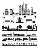 Cidade da silhueta, parque, floresta, elementos da estrada ilustração royalty free