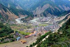 Cidade danificada após o terremoto em Sichuan, queixo Imagens de Stock