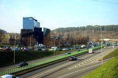 A cidade Danske Bank de Vilnius no outono cronometra o 11 de novembro de 2014 Foto de Stock