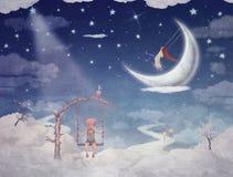 Cidade das crianças em nuvens fantásticas Fotografia de Stock Royalty Free