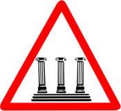 Cidade de Anthic que adverte o sinal de estrada triangular vermelho do cuidado Imagens de Stock
