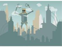 Cidade de ataque do robô gigante Imagens de Stock Royalty Free