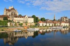 Cidade de Auxerre da arte e da história, França Foto de Stock Royalty Free