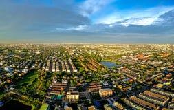 Cidade de Banguecoque na vista aérea Fotografia de Stock
