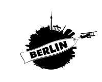 Cidade de Berlim com avião e bandeira Foto de Stock