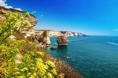 Cidade de Bonifacio no penhasco branco bonito da rocha com baía do mar, Córsega, França fotografia de stock
