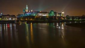 Cidade de Crakow na noite Fotografia de Stock Royalty Free