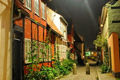 Cidade de Dinamarca, Helsingor na noite foto de stock royalty free