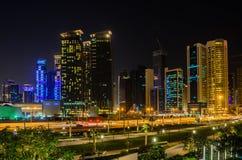 Cidade de Doha, Catar na noite Foto de Stock