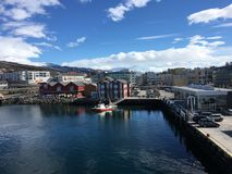 A cidade de Finnsnes, Noruega Imagens de Stock Royalty Free