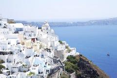 Cidade de Fira no sland de Santorini fotografia de stock