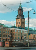 Cidade de Göteborg com torre de igreja fotos de stock