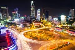 Cidade de Ho Chi Minh na noite vietnam Imagem de Stock Royalty Free