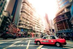 Cidade de Hong Kong com as propagandas do transporte e da abundância Foto de Stock