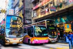 Cidade de Hong Kong com as propagandas do transporte e da abundância Imagem de Stock Royalty Free