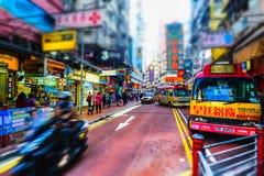 Cidade de Hong Kong com as propagandas do transporte e da abundância Foto de Stock Royalty Free
