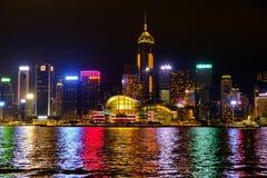 Cidade de Hong Kong na noite Fotografia de Stock