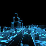 Cidade de incandescência transparente azul ilustração stock