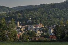Cidade de Kraslice na manhã muito quente do verão fotos de stock royalty free