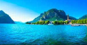 Cidade de Lecco, paisagem panorâmico do lago Como Italy, Europa Imagem de Stock