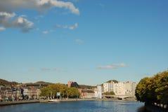 Cidade de Liege, o rio Meuse imagem de stock royalty free