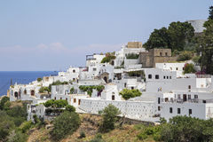 A cidade de Lindos no grego Fotografia de Stock Royalty Free