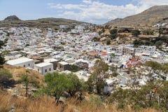 A cidade de Lindos no grego Imagens de Stock Royalty Free