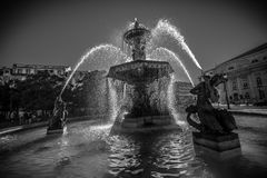 Cidade de Lisboa em preto e branco Fotos de Stock Royalty Free
