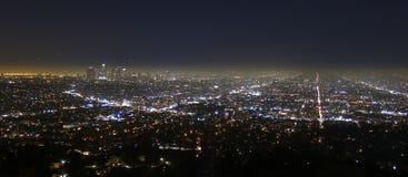 Cidade de Los Angeles na noite fotografia de stock