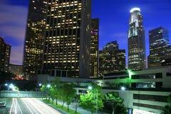 Cidade de Los Angeles no crepúsculo foto de stock