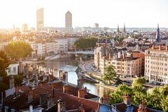 Cidade de Lyon em france Fotos de Stock Royalty Free