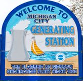 Cidade de Michigan que gera o sinal bem-vindo da estação Foto de Stock