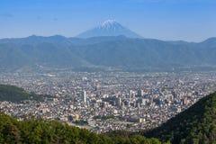 Cidade de Monte Fuji e de Kofu fotografia de stock