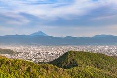 Cidade de Monte Fuji e de Kofu imagens de stock